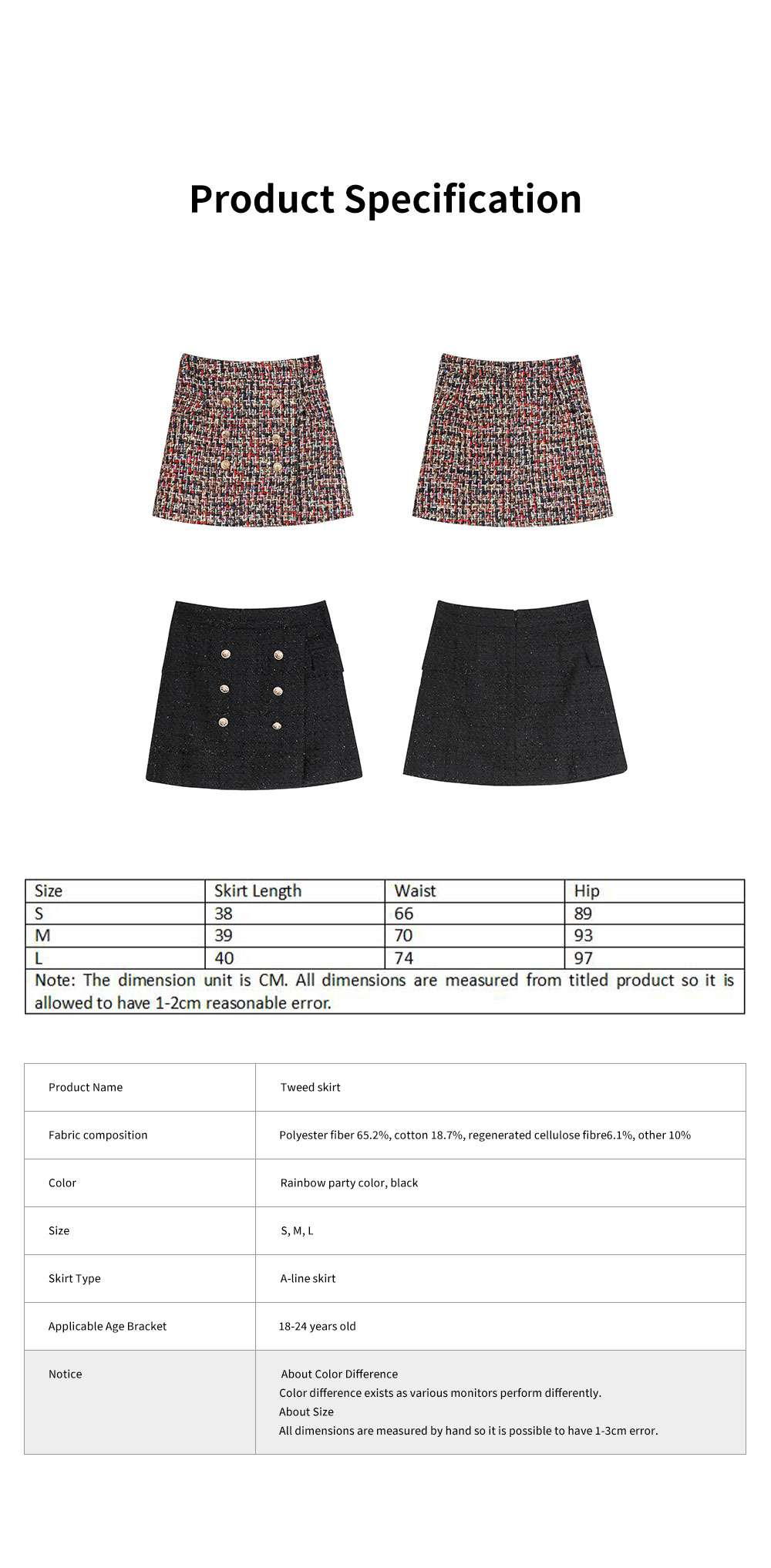 Autumn Winter 2019 New Style Tweed Skirt Chanel's Style Bust Skirt for Lady Wear Fashionable and Unique A-line Skirt 6
