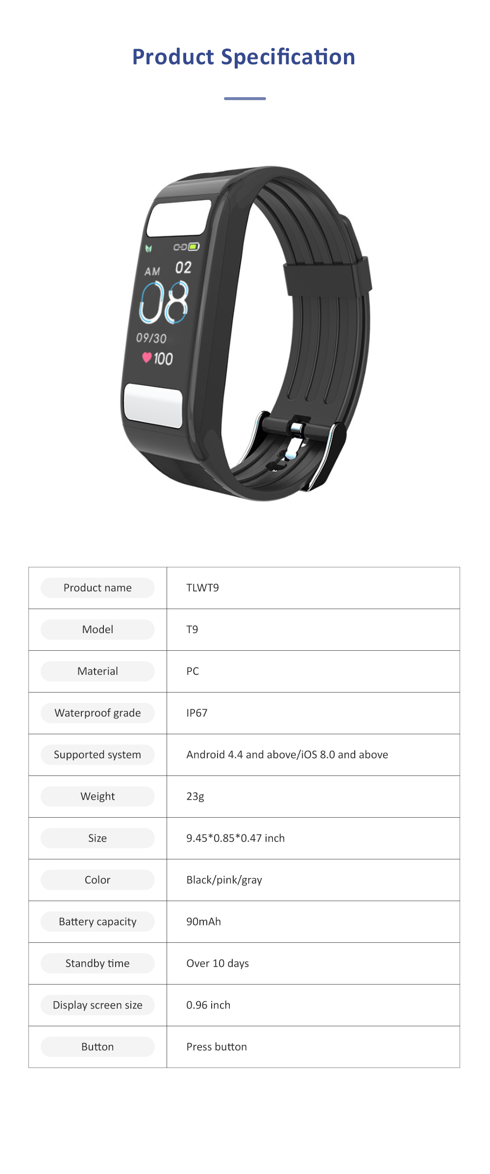 Smart Sports Wristband Bracelet IP67 Fitness Tracker Bracelet for Fat Detecting Blood Pressure Heart Rate Sleeping Quality Monitoring 11