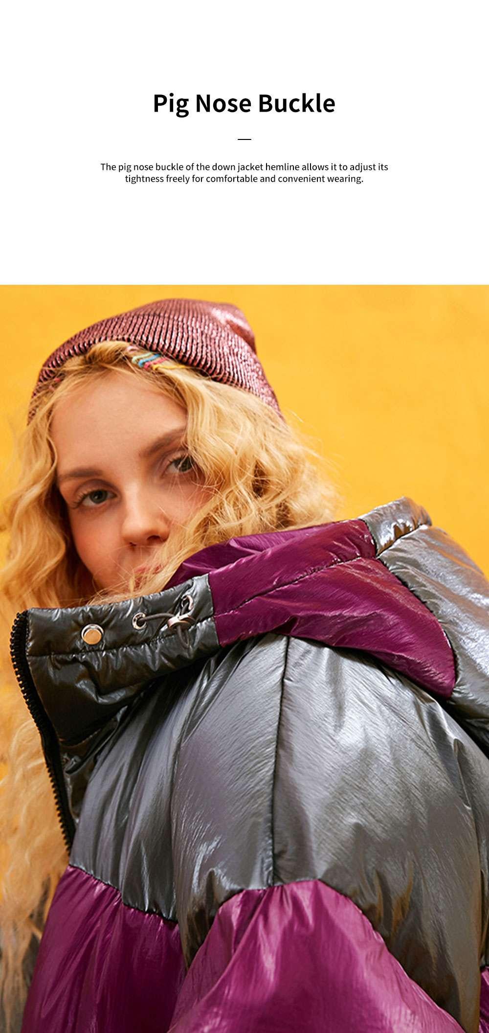 ELFSACK 2019 NEW Splicing Glossy Down Jacket for Women Winter Wear Loose Down Coat Fashion Down Jacket 4