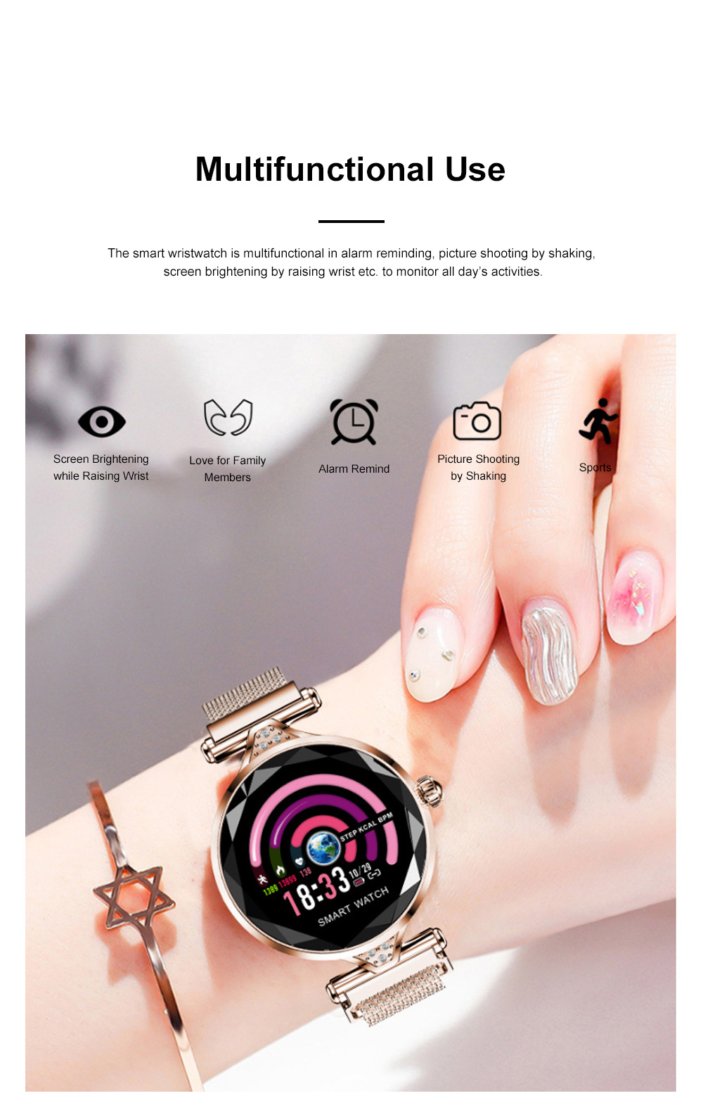 Multifunctional Smart Wrist Watch for Women Daily Wear Fashionable and Smart Bracelet Bluetooth Colorful Screen Wristwatch 5