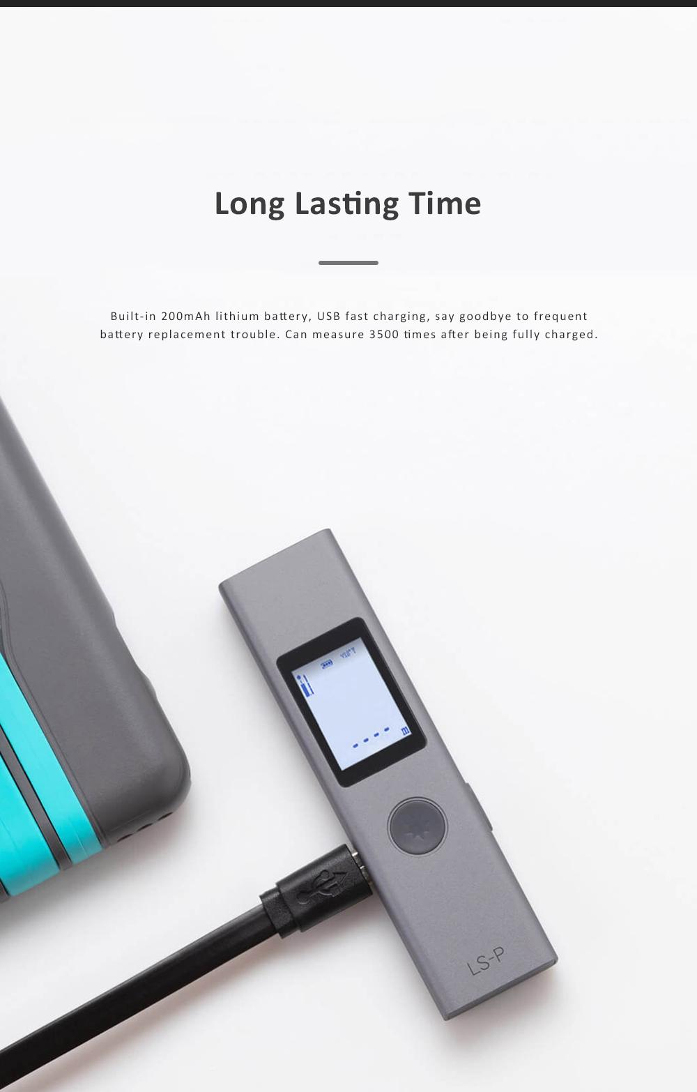 Xiaomi DUKA LS-P Laser Distance Rangefinder Mini Hand-held Digital Distance Meter with 200mAh Battery for Distance Area Volume Measurement 4