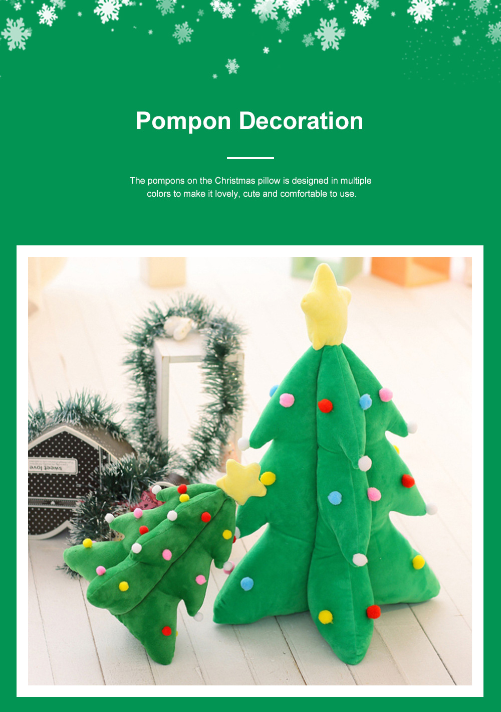 Music Christmas Tree Pillow for Gift Choice Luminous Musical Throw Pillow Stuffed Toy Environment-friendly PP Cotton Bolster 2
