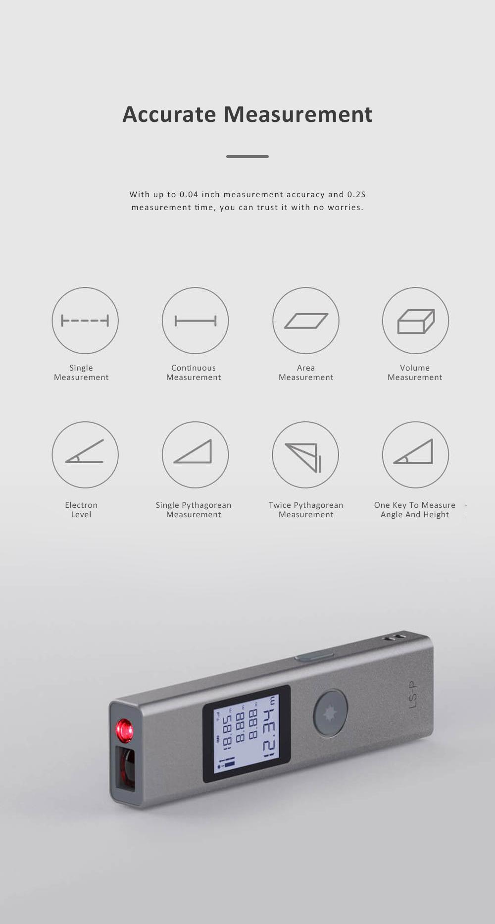 Xiaomi DUKA LS-P Laser Distance Rangefinder Mini Hand-held Digital Distance Meter with 200mAh Battery for Distance Area Volume Measurement 2