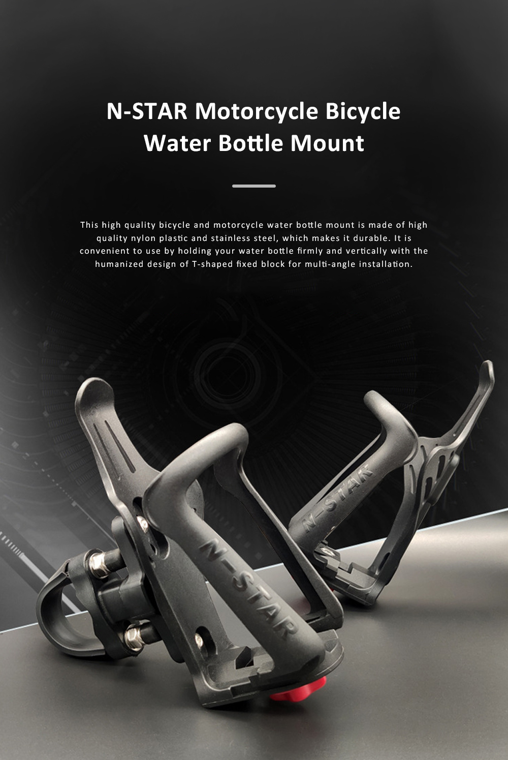 N-STAR Bicycle Water Bottle Mount Motorcycle Water Bottle Holder Brackets with Adjustable Size for Safe Outdoor Activities 0