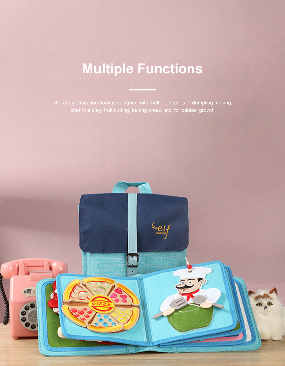 Elf-culture Food Cloth Book for Early Education Not Tearable Infant Toddler's Cloth Book Colorful Simple Cloth Book 2