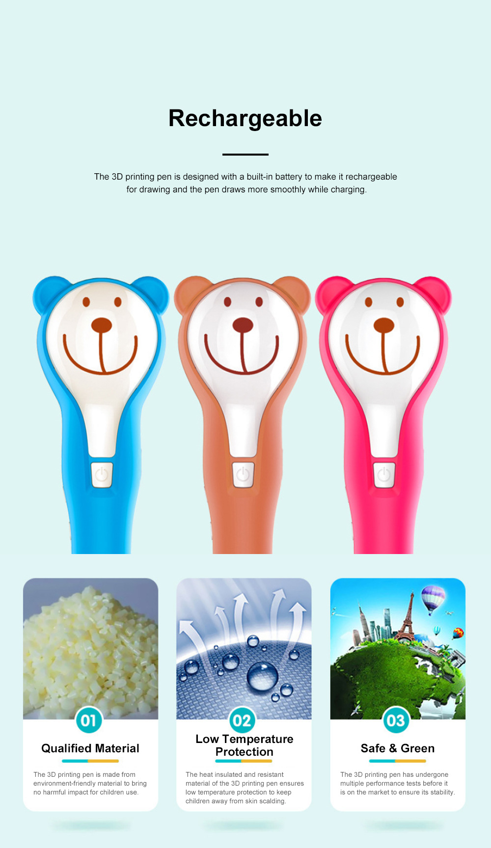Cartoon Bear Three-dimensional Printing Pen for Baby Use Low Temperature and Environment-friendly Doodle Pen DIY Plastic Pen 5