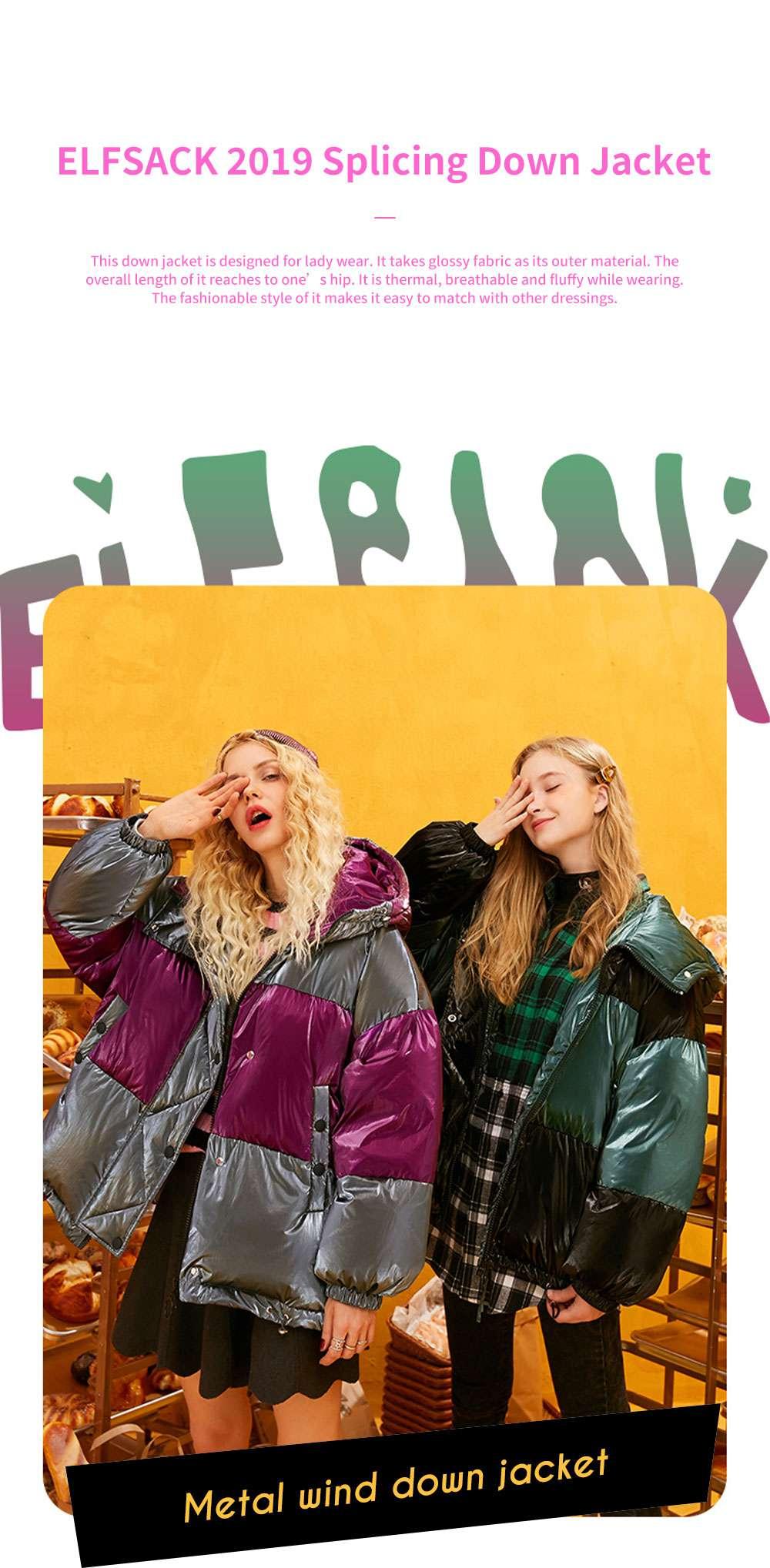 ELFSACK 2019 NEW Splicing Glossy Down Jacket for Women Winter Wear Loose Down Coat Fashion Down Jacket 0