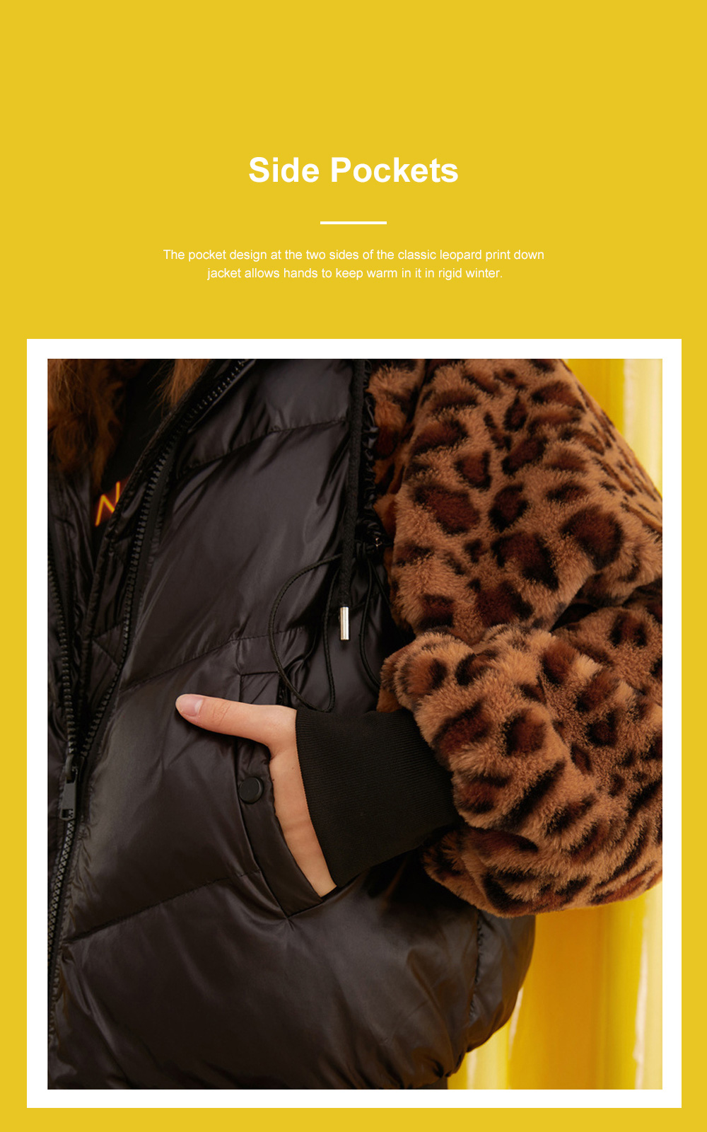 ELF SACK Classic Leopard Print Down Jacket for Women Winter Wear Thickened Splicing Hoody Down Coat Thermal Down Jacket 6