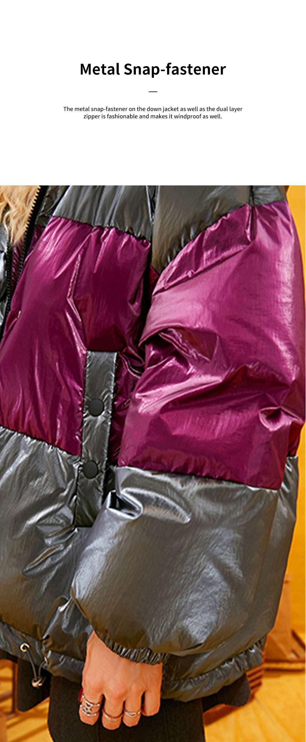 ELFSACK 2019 NEW Splicing Glossy Down Jacket for Women Winter Wear Loose Down Coat Fashion Down Jacket 5