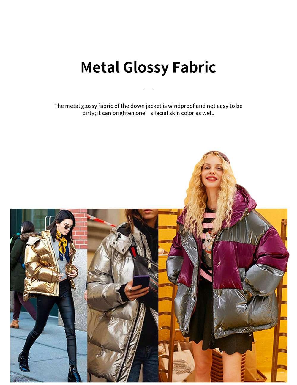ELFSACK 2019 NEW Splicing Glossy Down Jacket for Women Winter Wear Loose Down Coat Fashion Down Jacket 1