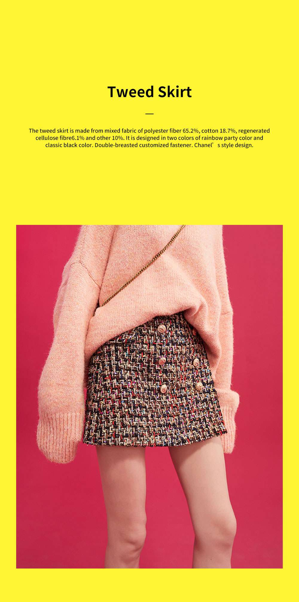Autumn Winter 2019 New Style Tweed Skirt Chanel's Style Bust Skirt for Lady Wear Fashionable and Unique A-line Skirt 0