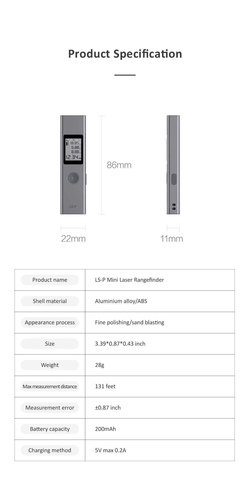 Xiaomi DUKA LS-P Laser Distance Rangefinder Mini Hand-held Digital Distance Meter with 200mAh Battery for Distance Area Volume Measurement 6