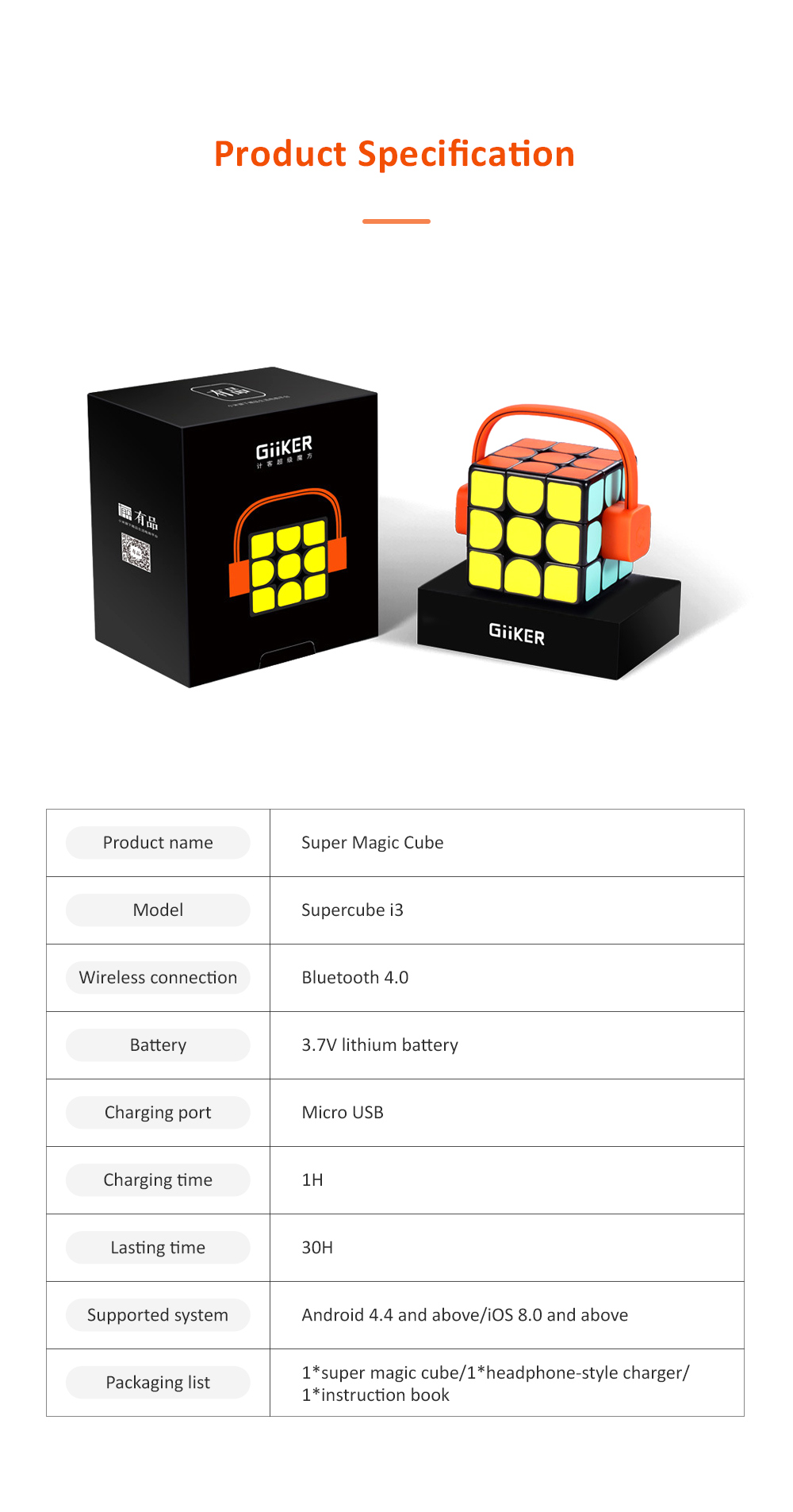 MI GIIKER Intelligent Super Cube Smart Magic Cube with Bluetooth Connection Real-time Sync for Education and Playing 7