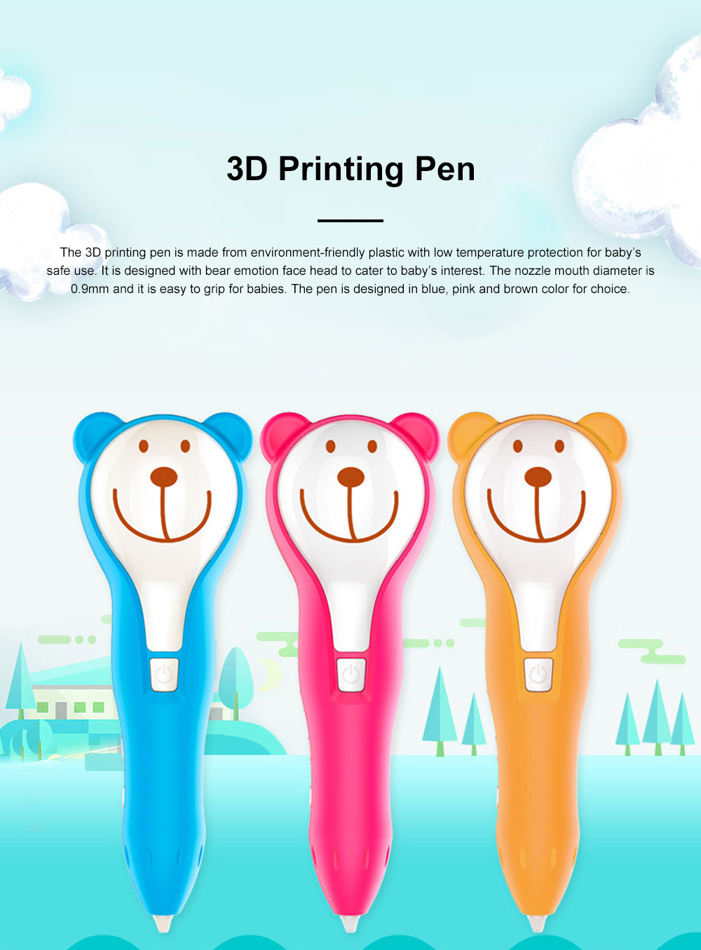 Cartoon Bear Three-dimensional Printing Pen for Baby Use Low Temperature and Environment-friendly Doodle Pen DIY Plastic Pen 0