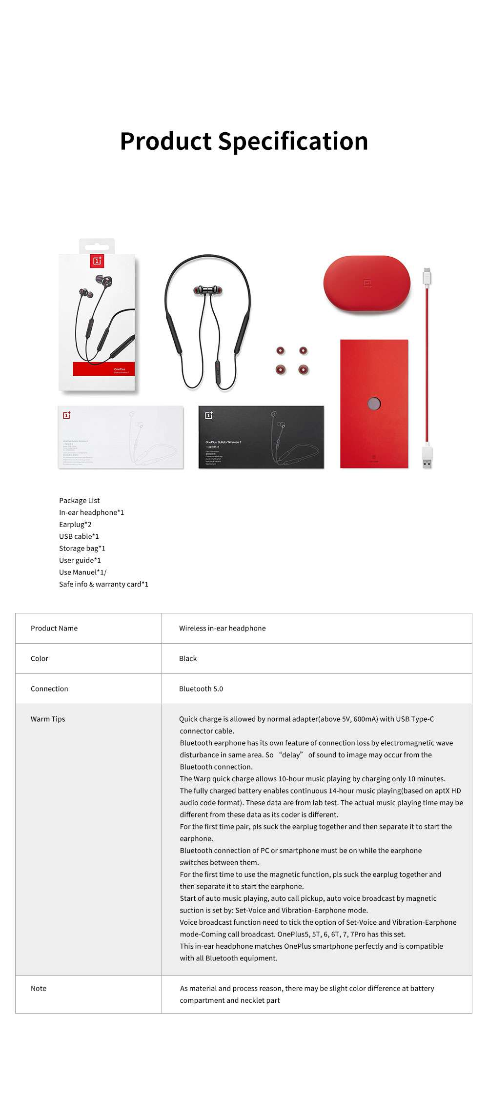ONEPLUS Bullet Wireless 2 In-ear Headphone for Music Listening Phone Calling Warp Charge and Quick Connection Bluetooth Earphone 11