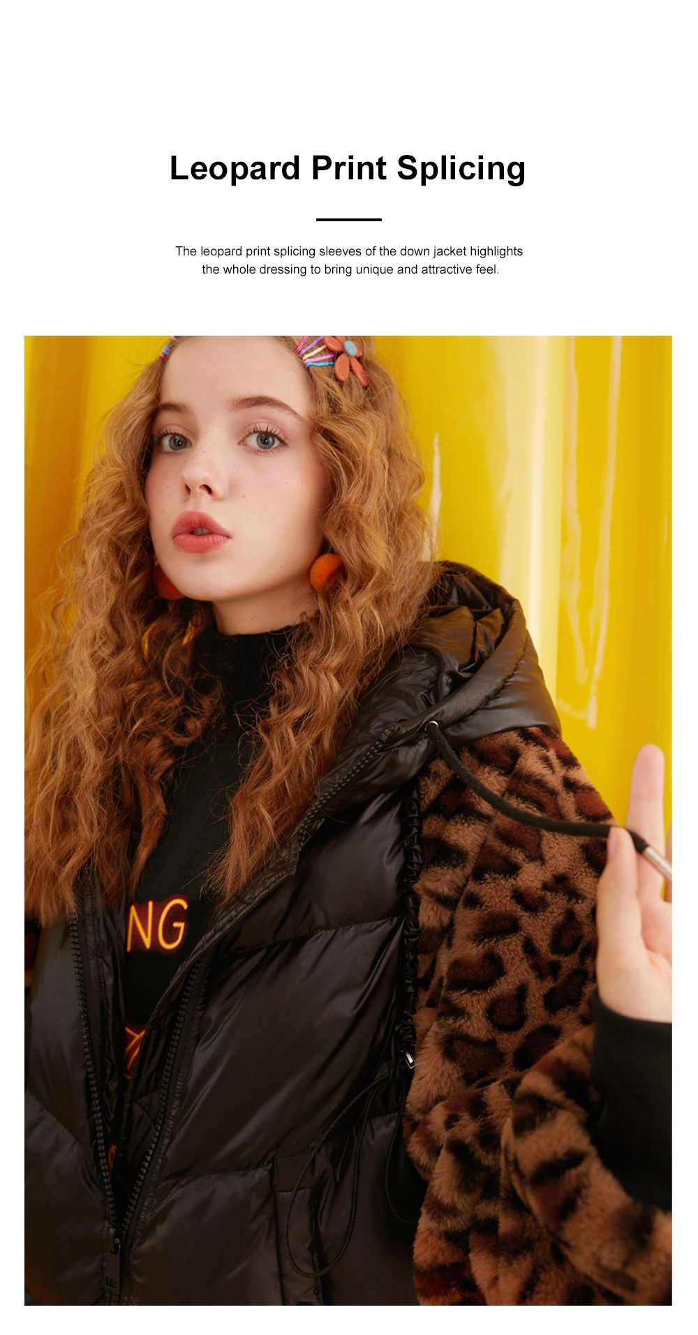 ELF SACK Classic Leopard Print Down Jacket for Women Winter Wear Thickened Splicing Hoody Down Coat Thermal Down Jacket 1