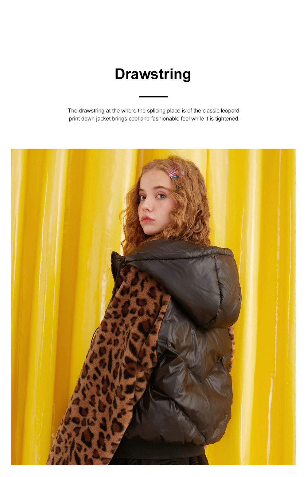 ELF SACK Classic Leopard Print Down Jacket for Women Winter Wear Thickened Splicing Hoody Down Coat Thermal Down Jacket 5