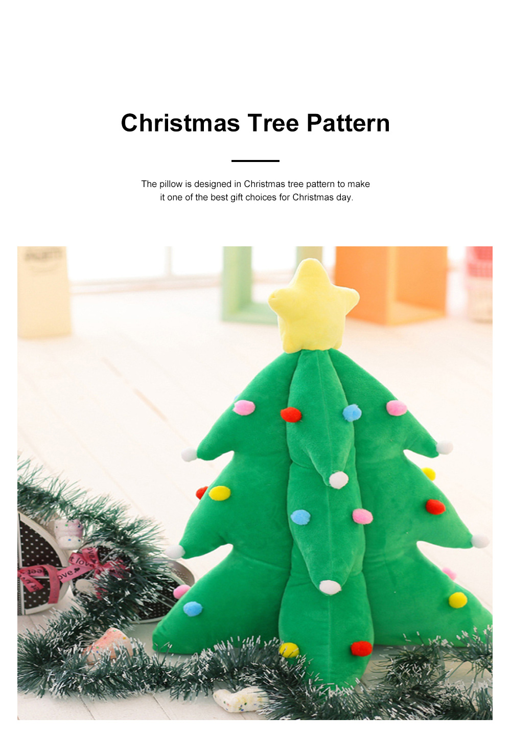 Music Christmas Tree Pillow for Gift Choice Luminous Musical Throw Pillow Stuffed Toy Environment-friendly PP Cotton Bolster 1
