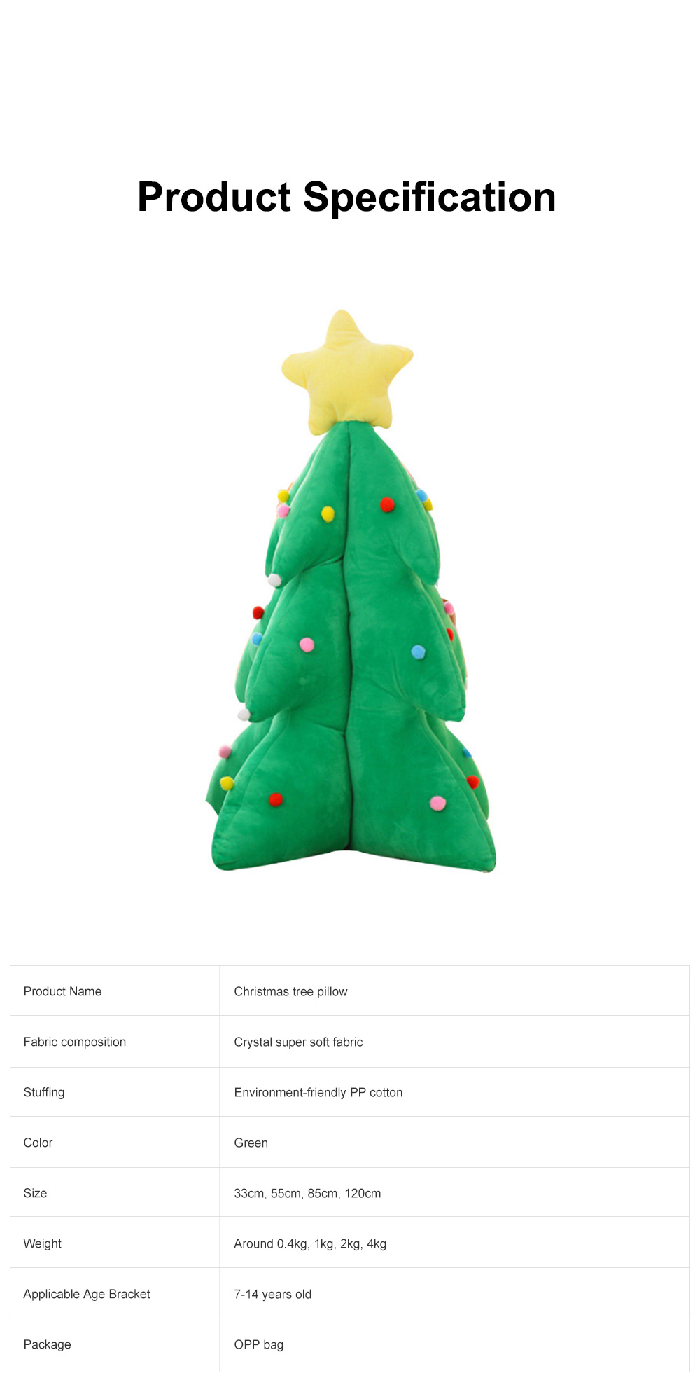 Music Christmas Tree Pillow for Gift Choice Luminous Musical Throw Pillow Stuffed Toy Environment-friendly PP Cotton Bolster 6