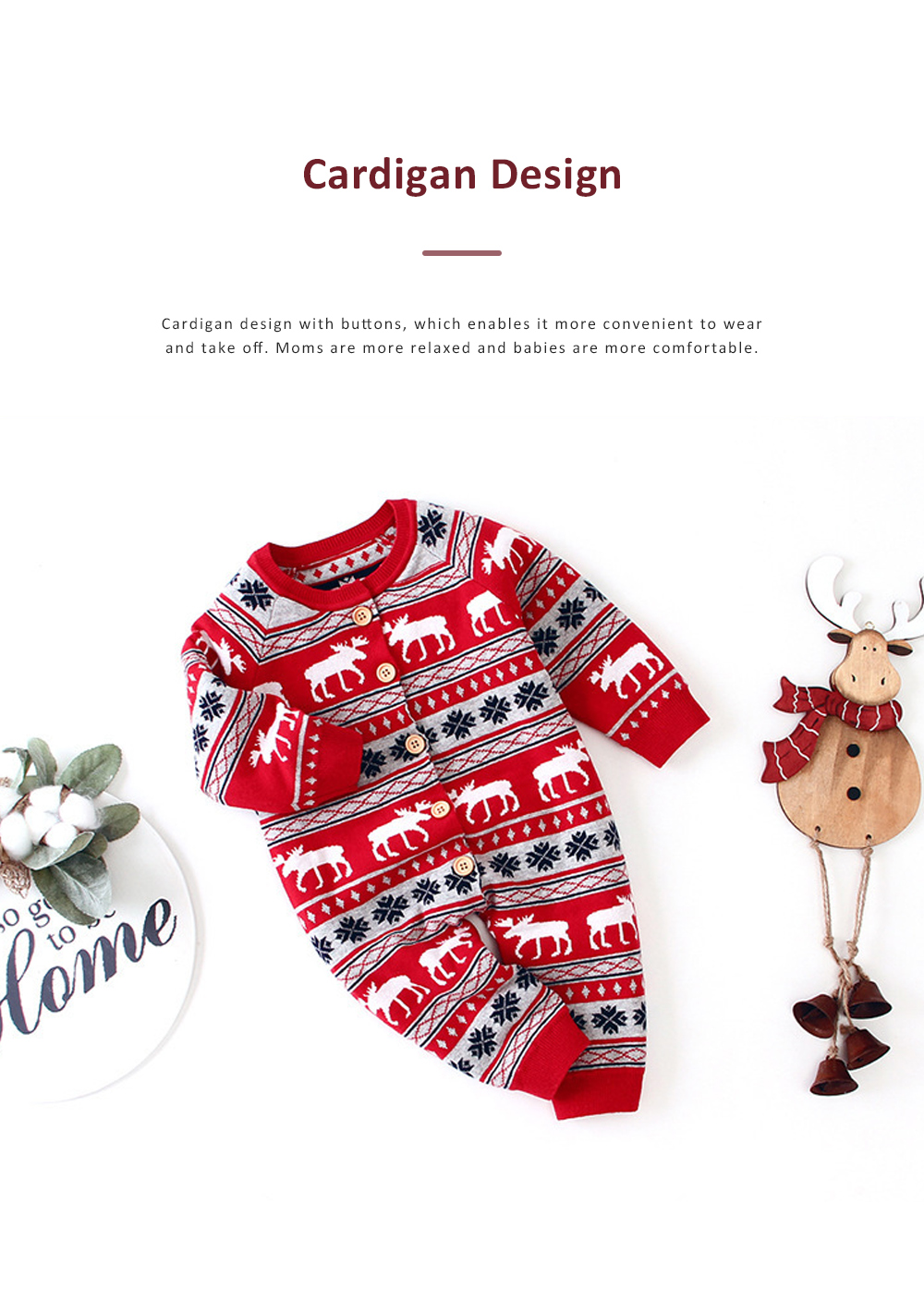 Christmas One-Piece Bodysuit for Baby Long Sleeve Cardigan Jumpsuits with Classic Round Collar and Ribbed cuffs for Boys and Girls 4