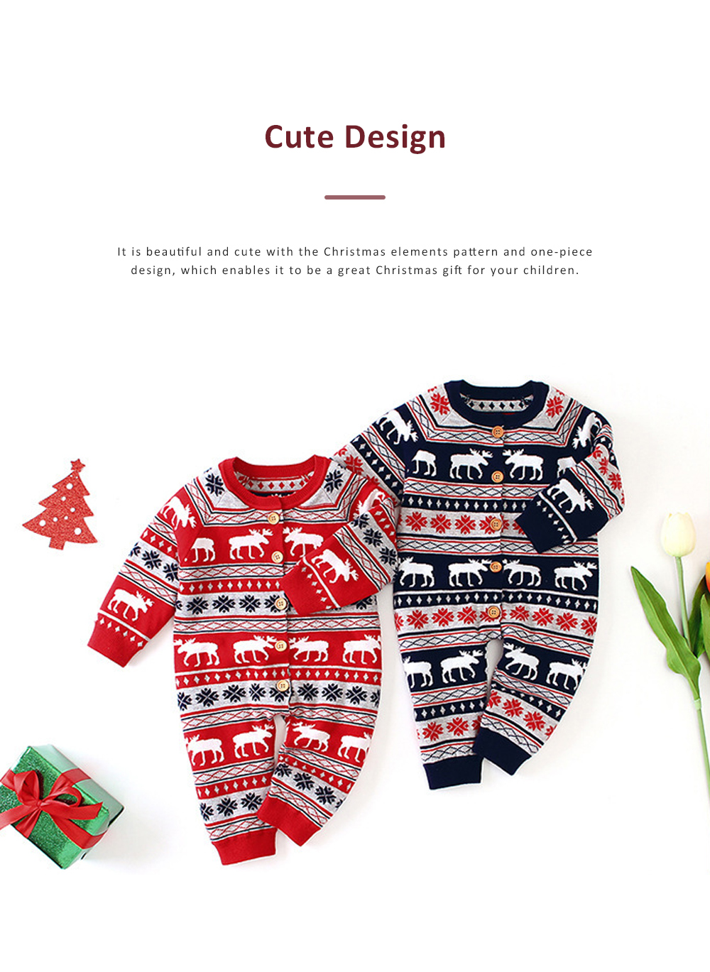 Christmas One-Piece Bodysuit for Baby Long Sleeve Cardigan Jumpsuits with Classic Round Collar and Ribbed cuffs for Boys and Girls 2