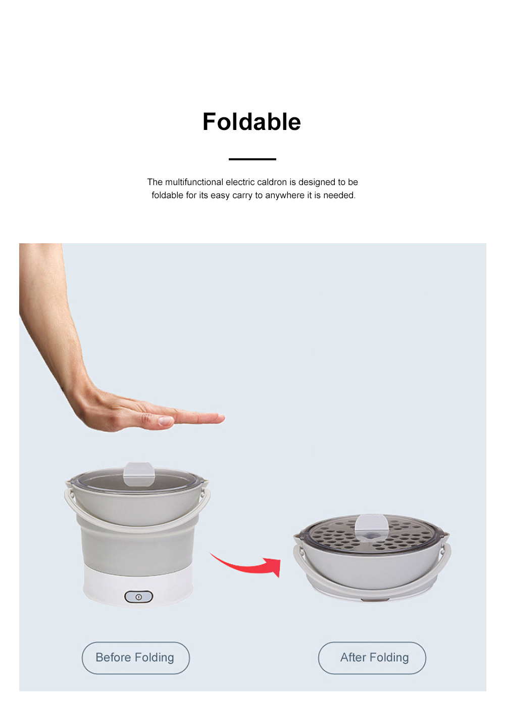 Multifunctional Electric Cooker Caldron for Dormitory Family Use Food Grade Portable Foldable Electric Hot Pot 3