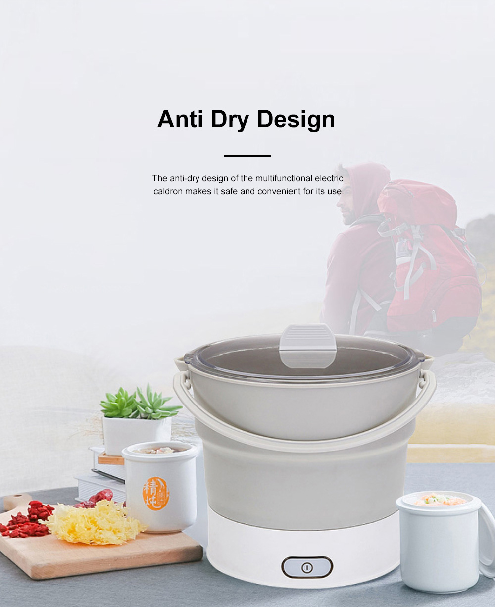 Multifunctional Electric Cooker Caldron for Dormitory Family Use Food Grade Portable Foldable Electric Hot Pot 6