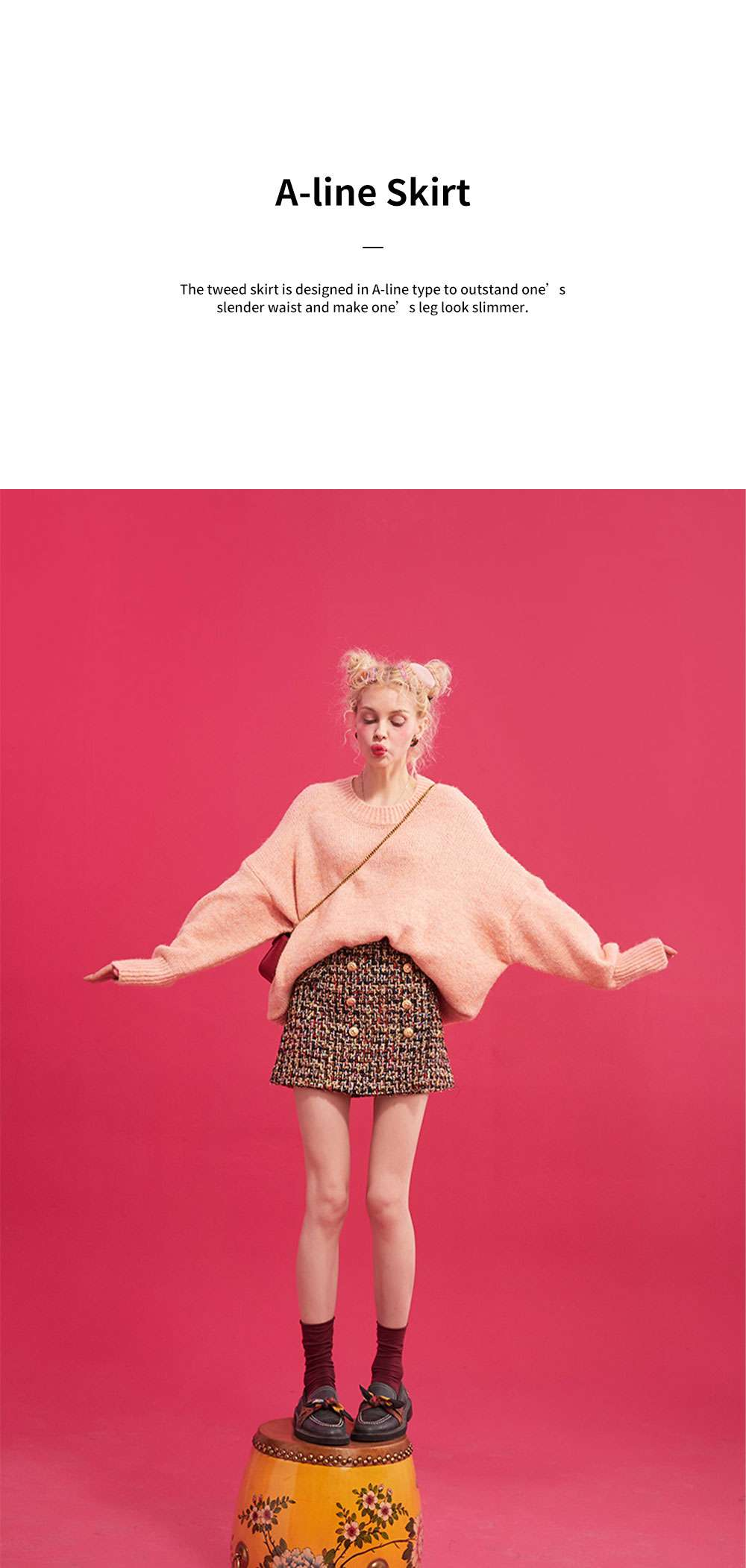 Autumn Winter 2019 New Style Tweed Skirt Chanel's Style Bust Skirt for Lady Wear Fashionable and Unique A-line Skirt 5