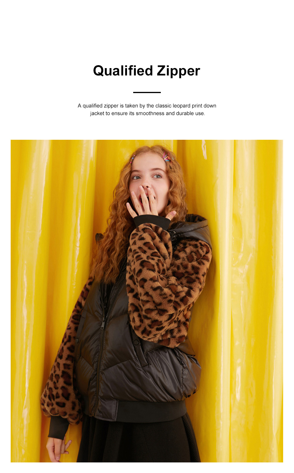 ELF SACK Classic Leopard Print Down Jacket for Women Winter Wear Thickened Splicing Hoody Down Coat Thermal Down Jacket 3