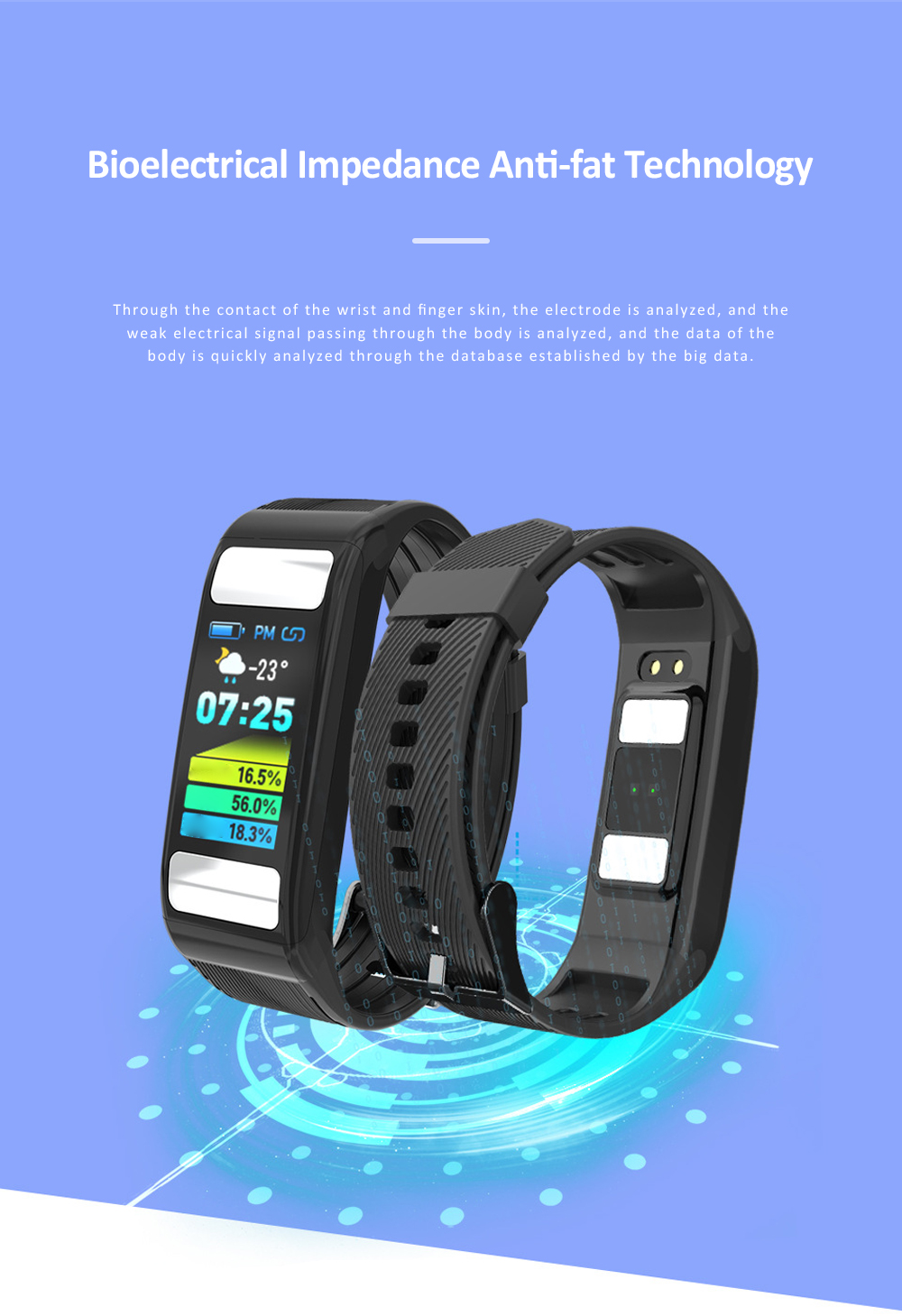 Smart Sports Wristband Bracelet IP67 Fitness Tracker Bracelet for Fat Detecting Blood Pressure Heart Rate Sleeping Quality Monitoring 1