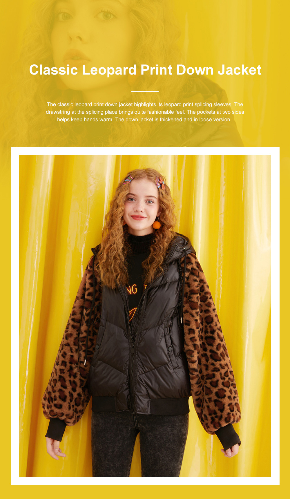 ELF SACK Classic Leopard Print Down Jacket for Women Winter Wear Thickened Splicing Hoody Down Coat Thermal Down Jacket 0
