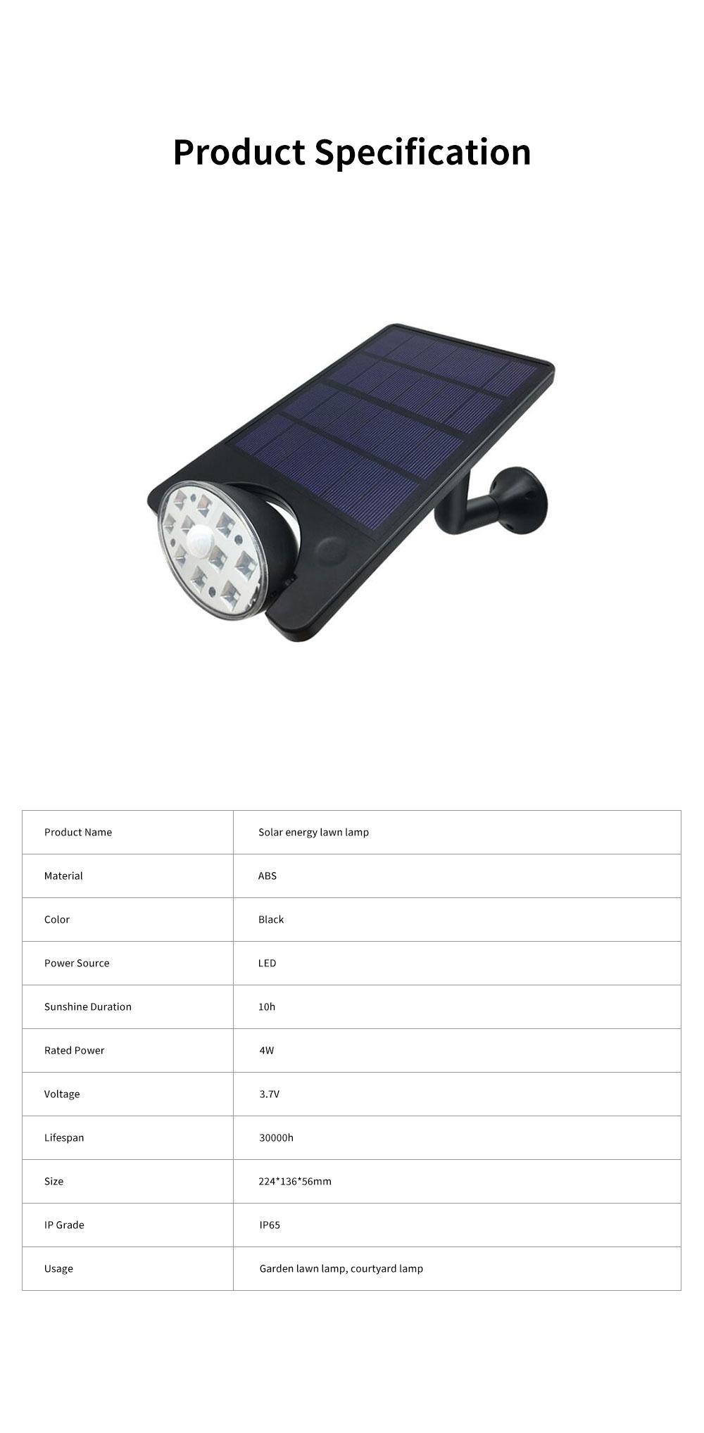 Solar Energy Ultra Thin Wall Lamp for Lawn Lighting Decoration Body Sensing Flat Panel Lawn Light Ultrathin Waterproof Lawn Lamp 8