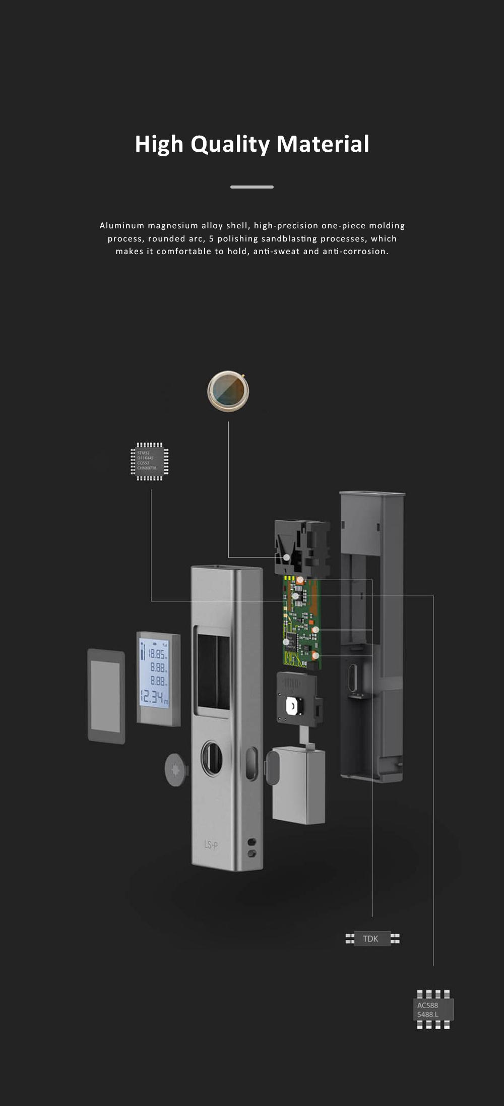 Xiaomi DUKA LS-P Laser Distance Rangefinder Mini Hand-held Digital Distance Meter with 200mAh Battery for Distance Area Volume Measurement 3