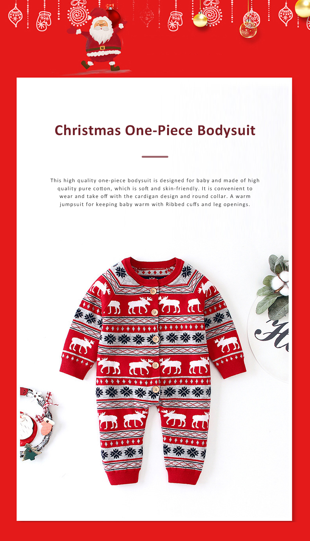 Christmas One-Piece Bodysuit for Baby Long Sleeve Cardigan Jumpsuits with Classic Round Collar and Ribbed cuffs for Boys and Girls 0