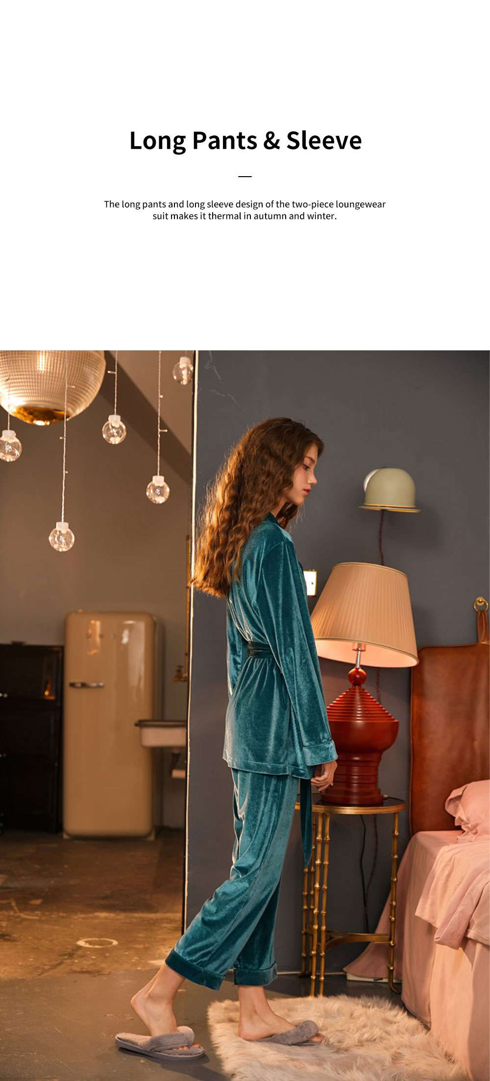 ELFSACK Practical Two-piece Loungewear Suit for Lady Wear Embroidered Velvet Pajamas with Waistband Sexy Thin Nightclothes 3