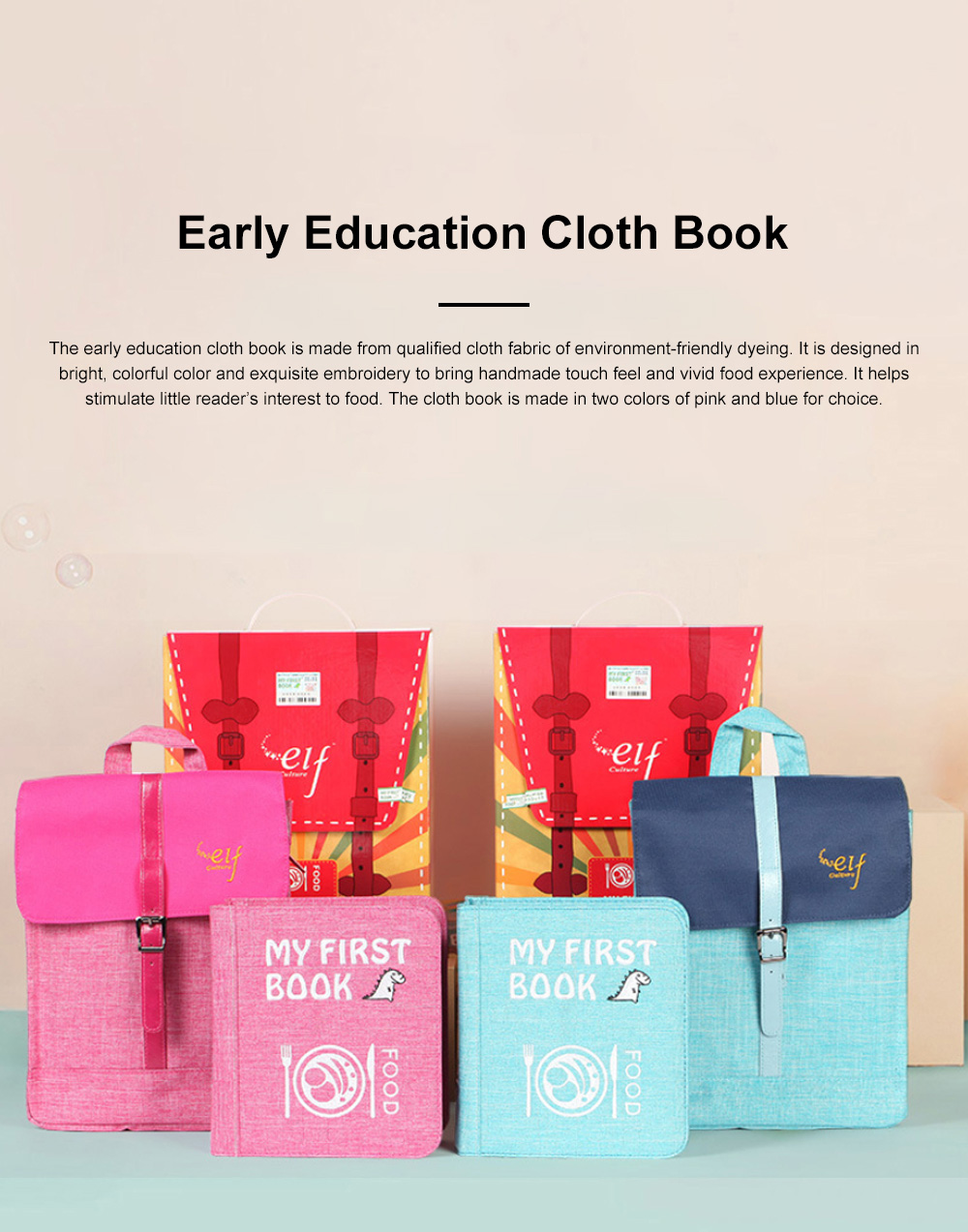 Elf-culture Food Cloth Book for Early Education Not Tearable Infant Toddler's Cloth Book Colorful Simple Cloth Book 0