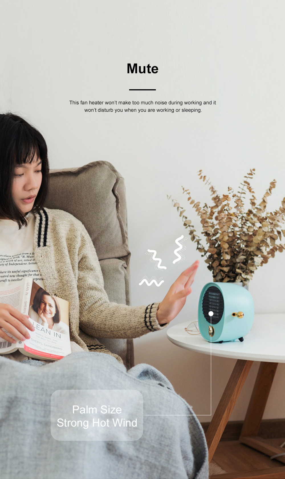 Portable Quick Heating Dormitory Mini Household Mute Desktop Fan Heater Strong Hot Wind Energy Conservation 4