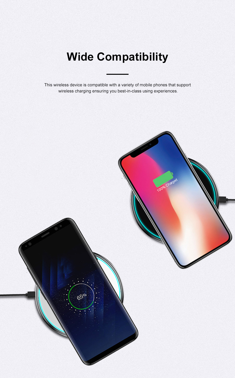 MIPOW Thin Portable Zinc Alloy Tempered Glass Quick Charging Wireless Charger for iPhone Xiaomi Samsung Huawei Nokia 8