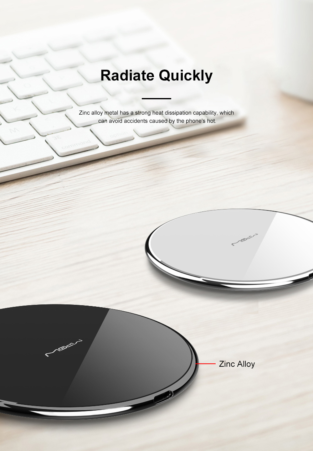 MIPOW Thin Portable Zinc Alloy Tempered Glass Quick Charging Wireless Charger for iPhone Xiaomi Samsung Huawei Nokia 6