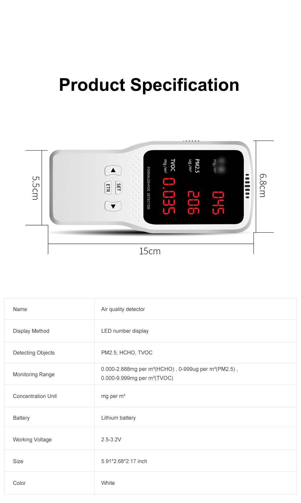 JBL Professional Stable Quick Household PM2.5 TVOC Formaldehyde Air Quality Detector with Intelligent Chip Large HD Screen 7