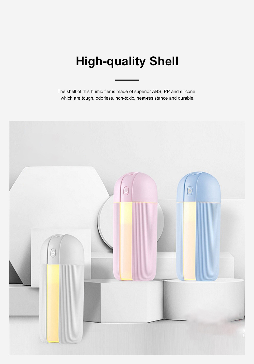 Mini Portable Car Humidifier Large Capacity Long Endurance Wireless USB Charging Mute Humidifier Night Light with Timing Function 7