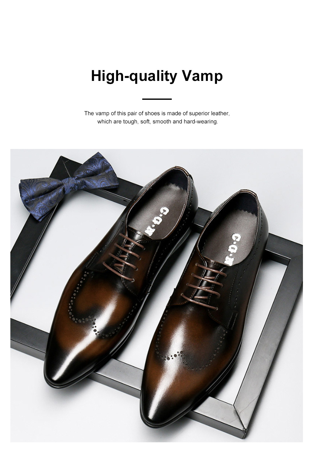 Males Vintage Stylish Minimalist Business Shoes Man Pointy Pint-tipped Leather Shoes with Anti-skid Rubber Sole 1