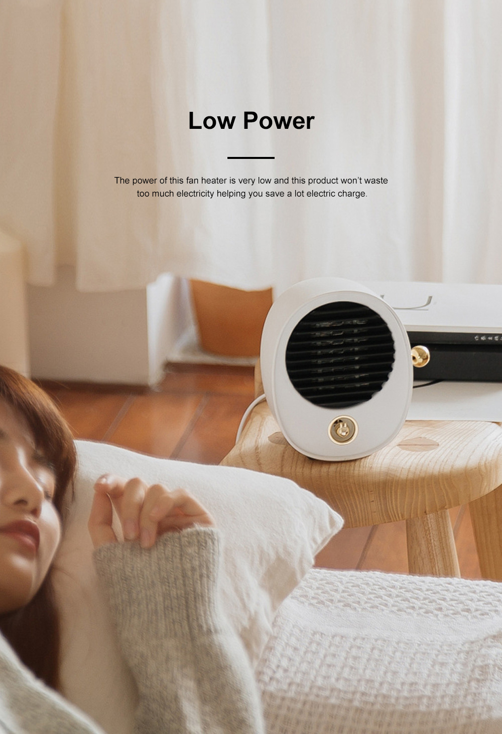 Portable Quick Heating Dormitory Mini Household Mute Desktop Fan Heater Strong Hot Wind Energy Conservation 3