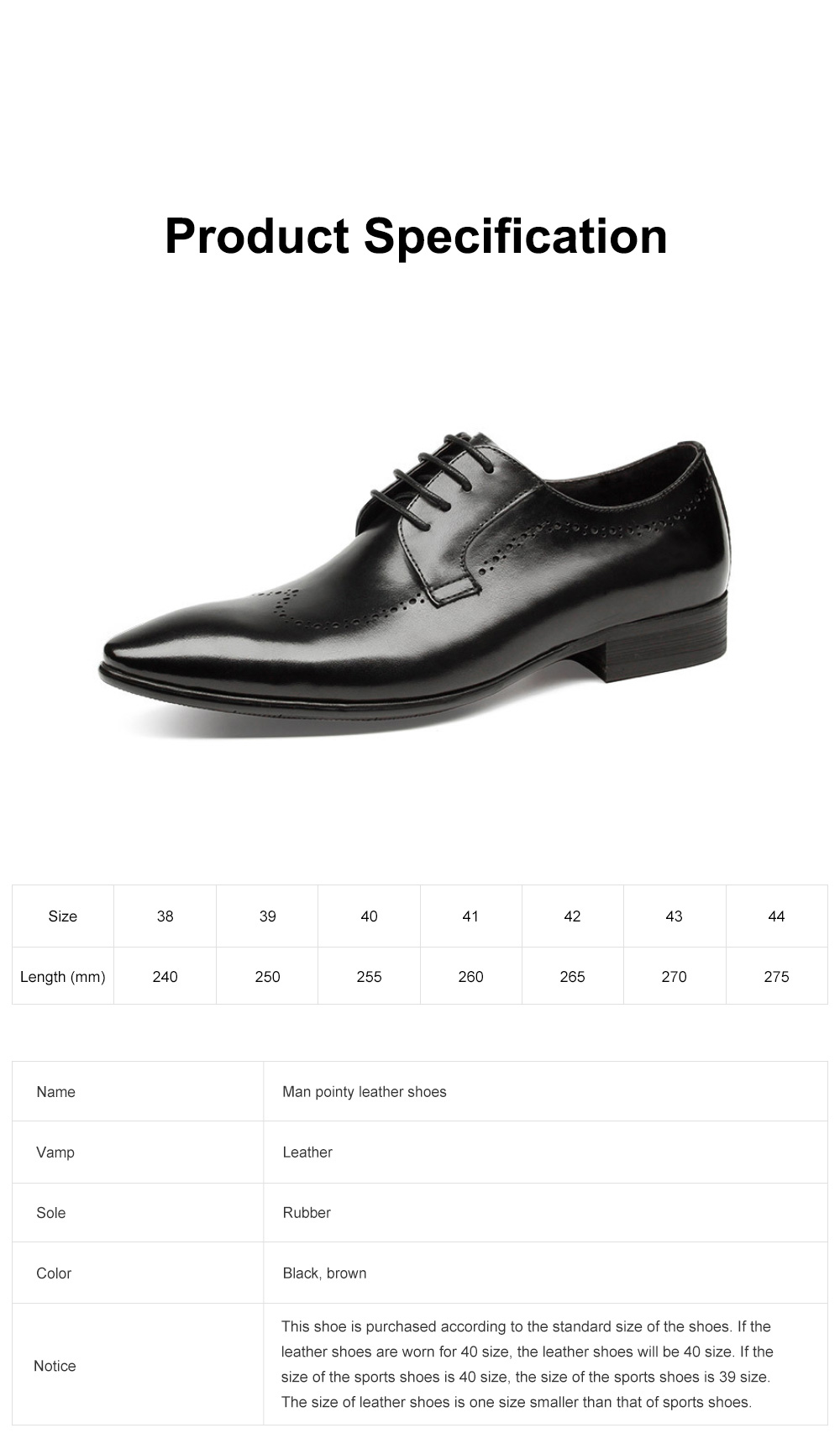 Males Vintage Stylish Minimalist Business Shoes Man Pointy Pint-tipped Leather Shoes with Anti-skid Rubber Sole 6