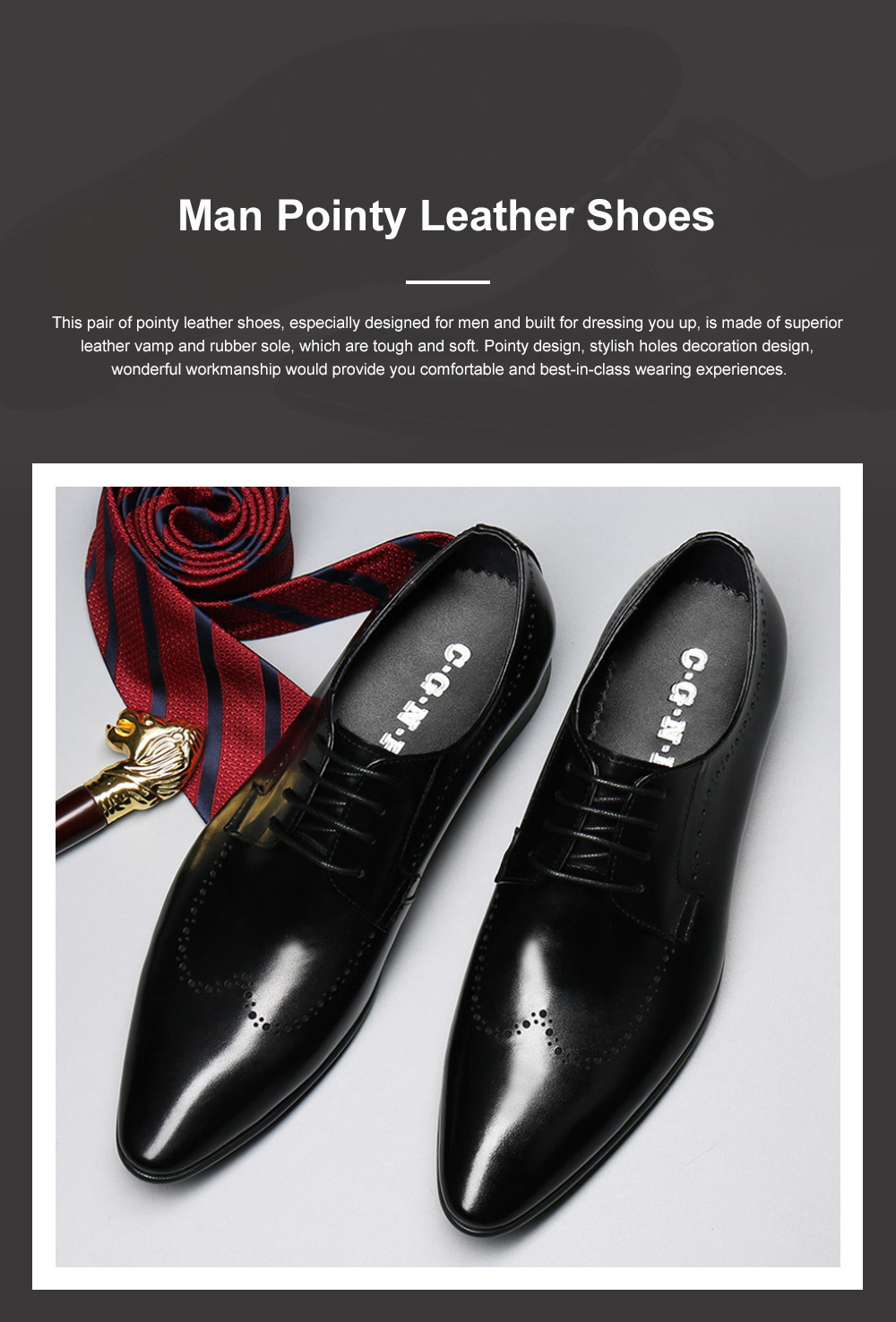 Males Vintage Stylish Minimalist Business Shoes Man Pointy Pint-tipped Leather Shoes with Anti-skid Rubber Sole 0