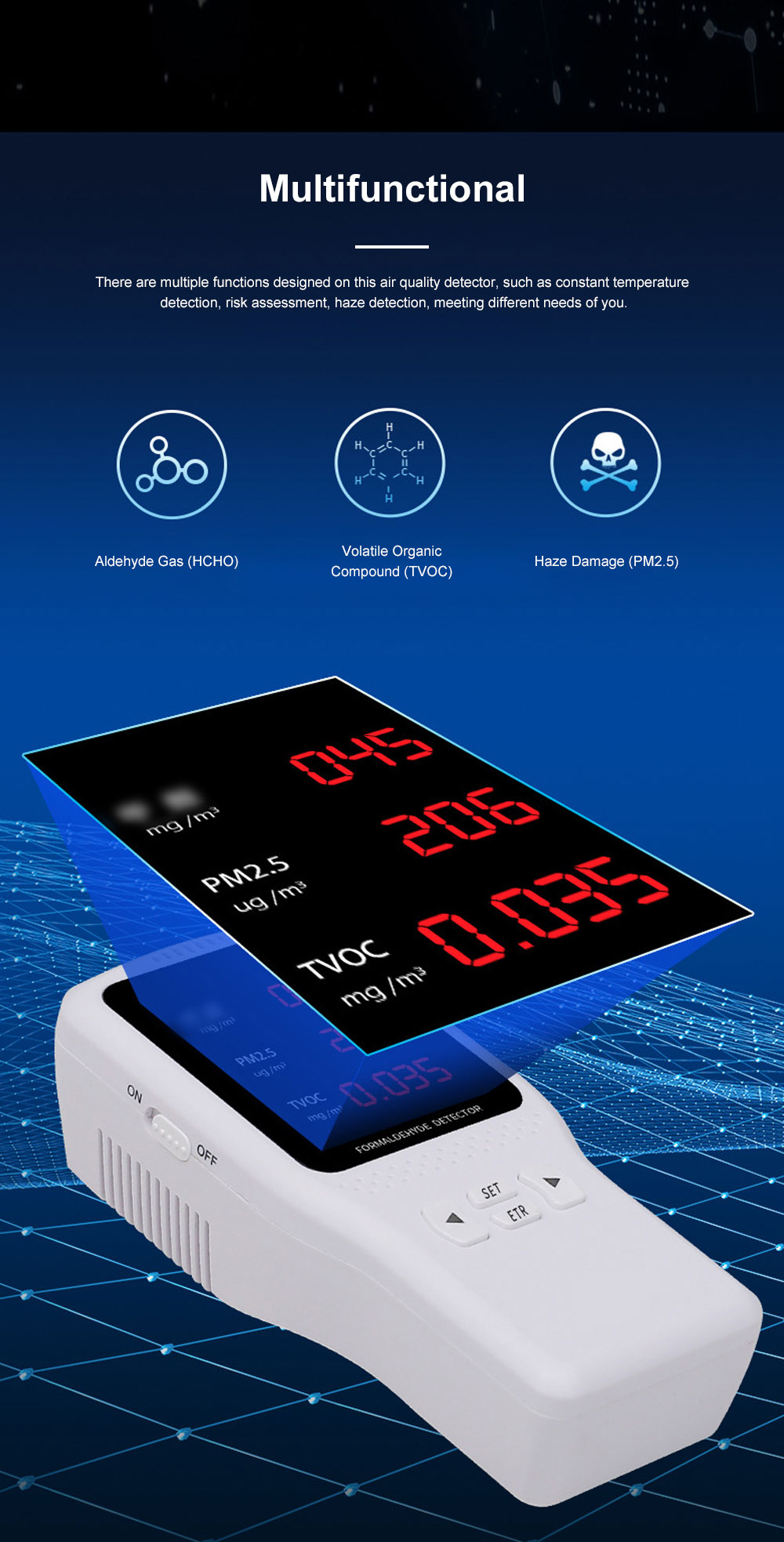 JBL Professional Stable Quick Household PM2.5 TVOC Formaldehyde Air Quality Detector with Intelligent Chip Large HD Screen 2