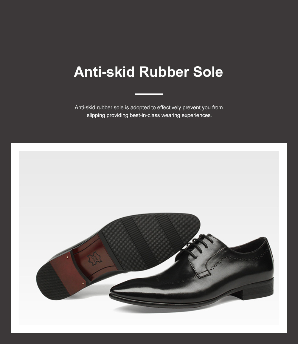 Males Vintage Stylish Minimalist Business Shoes Man Pointy Pint-tipped Leather Shoes with Anti-skid Rubber Sole 2