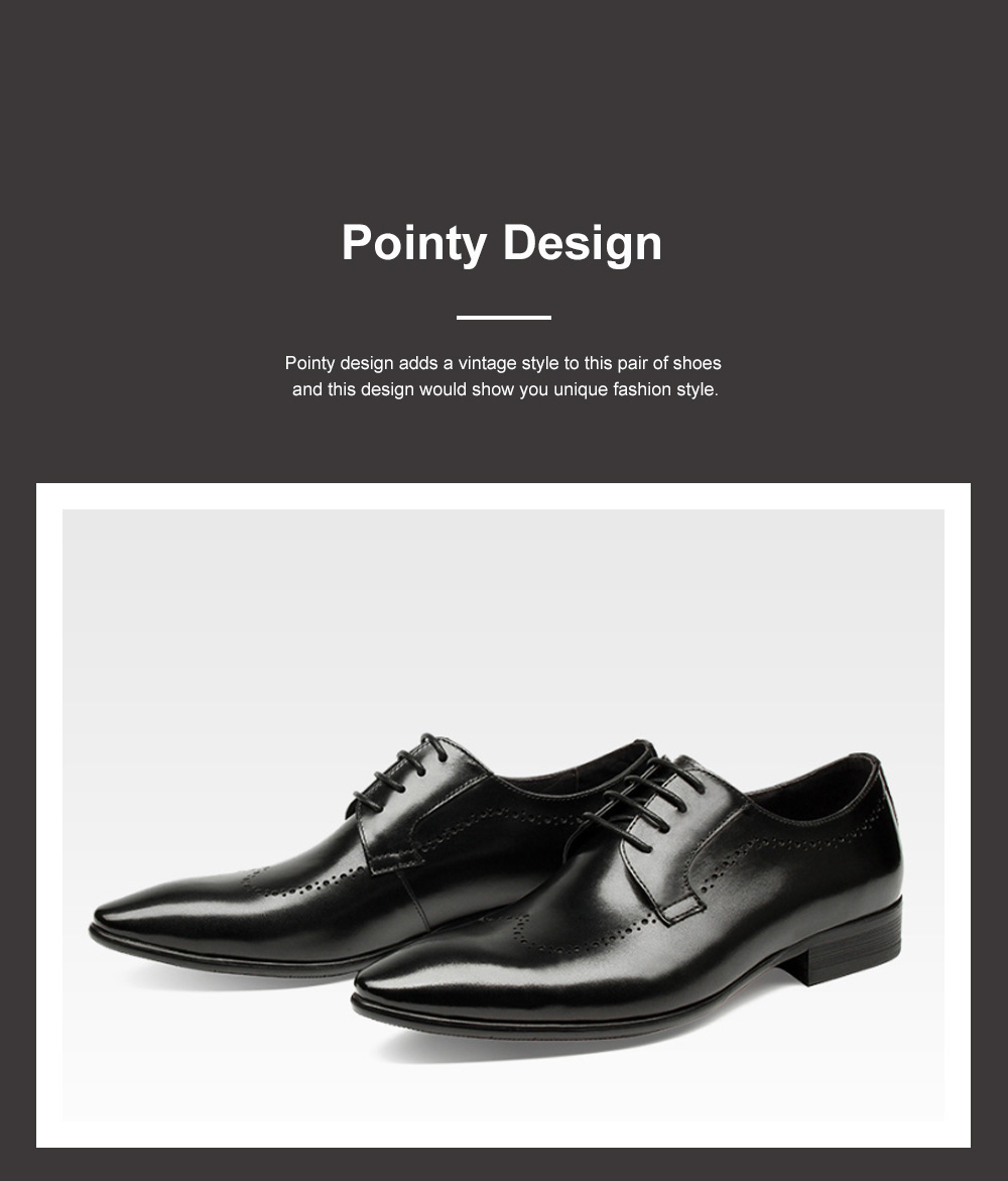 Males Vintage Stylish Minimalist Business Shoes Man Pointy Pint-tipped Leather Shoes with Anti-skid Rubber Sole 4
