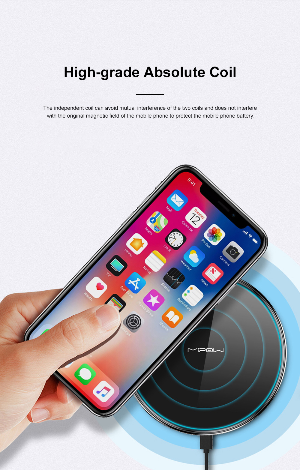 MIPOW Thin Portable Zinc Alloy Tempered Glass Quick Charging Wireless Charger for iPhone Xiaomi Samsung Huawei Nokia 4
