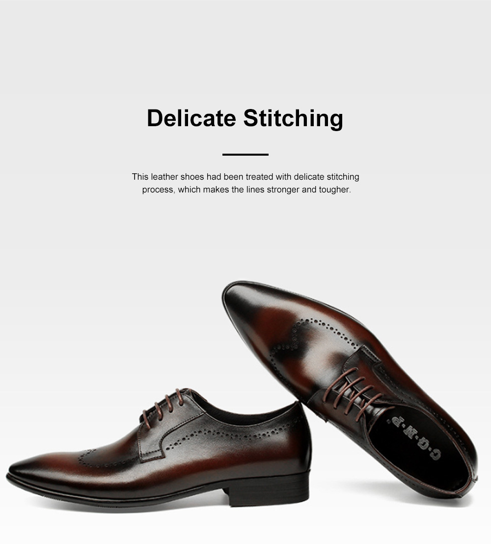 Males Vintage Stylish Minimalist Business Shoes Man Pointy Pint-tipped Leather Shoes with Anti-skid Rubber Sole 5